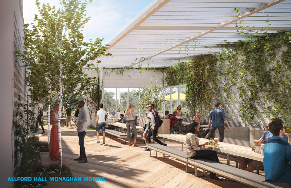 Photo -  The craft beer hall planned for SW 5 and Hudson across from Scissortail Park will include lushly landscaped terraces and courtyards. [Rendering by Allford Hall Monaghan Morris]