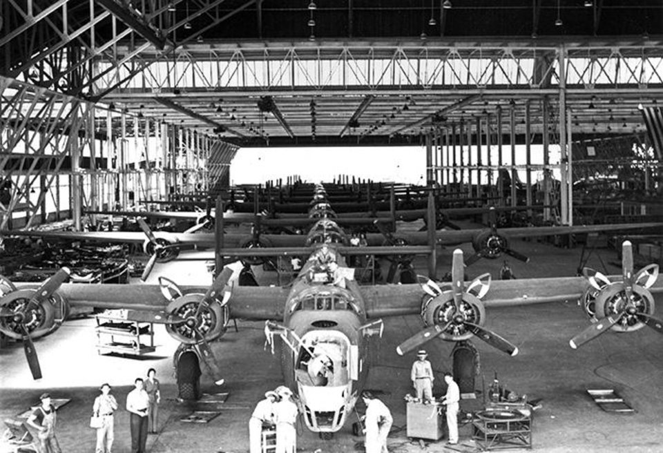 Photo - A B-24 under construction at the Douglas plant in Midwest City.