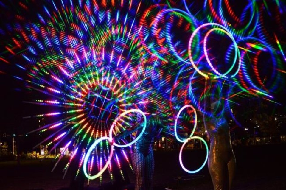 Photo -  Factory Obscura's Downtown Starlight glows Sept. 5 in Kerr Park. [Justin Waits photo]