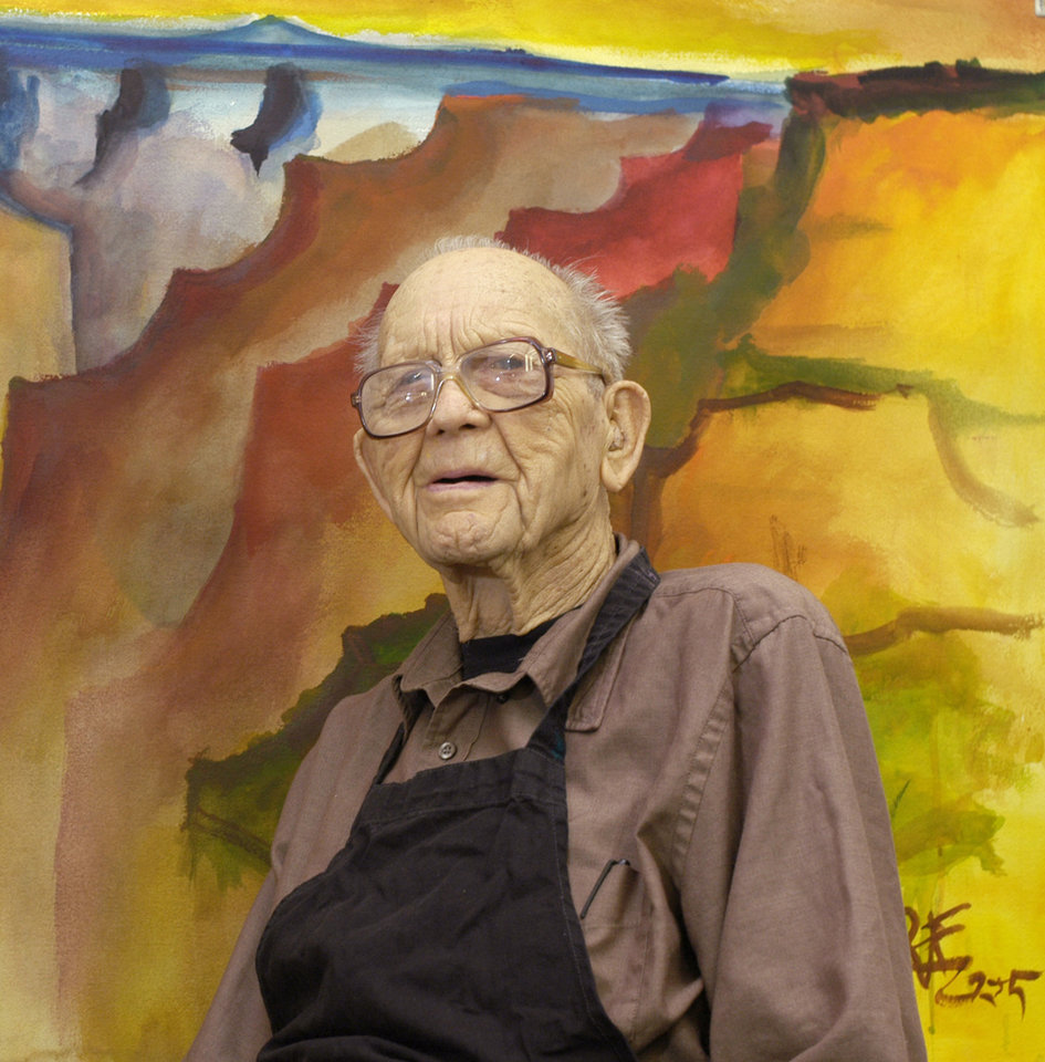 Photo - DEATH / DIED 02/24/2008: Milford Zornes with paintings in his studio in Claremont, California   prior to an exhibit of his works to be held at Pitzer College to commemorate his 97th birthday.  Photo by Steven K. Wagner. (909-445-1757)