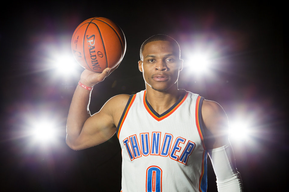 Photo - Russell Westbrook of the Oklahoma City Thunder poses for a portrait during media day at Chesapeake Energy Arena, Friday, Sept. 23, 2016. Photo by Bryan Terry, The Oklahoman