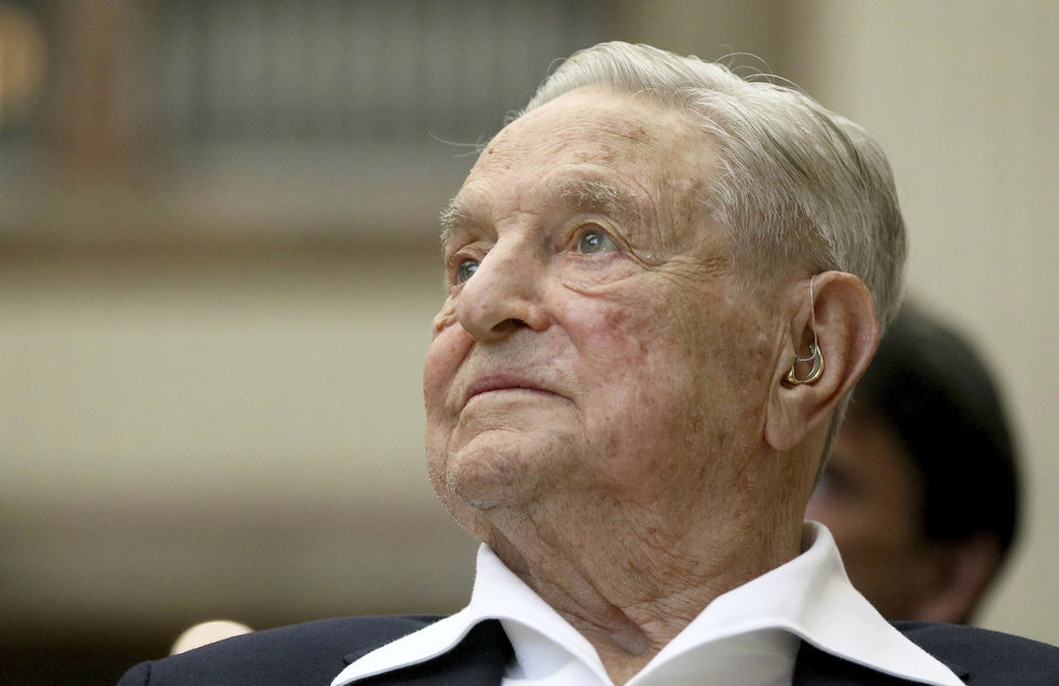 Photo -  In this June 21, 2019, photo, George Soros, founder and chairman of the Open Society Foundations, looks on before the Joseph A. Schumpeter award ceremony in Vienna, Austria. [Associated Press File]
