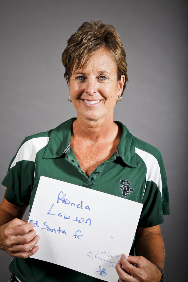 Photo - MUG: Rhonda Lawson, Edmond Santa Fe, softball, poses for a headshot at The Oklahoman's fall high school sports photo day at the OPUBCO building in Oklahoma city on Wednesday, Aug. 17, 2011. Photo by Zach Gray, The Oklahoman ORG XMIT: KOD