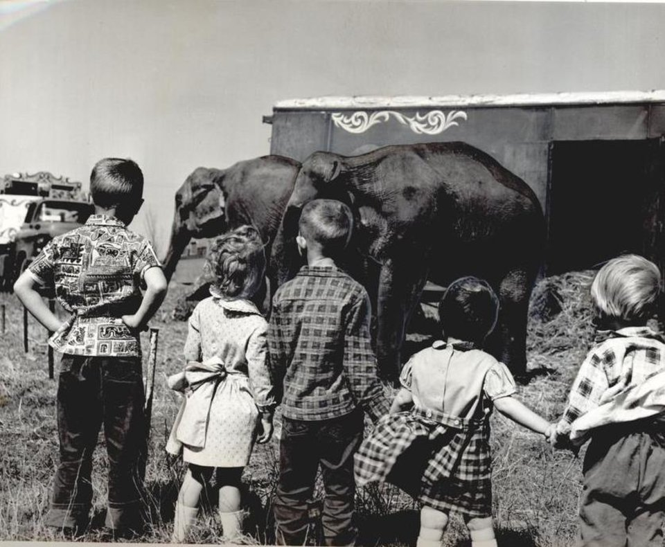 Photo - April 13, 1961: Circus Elephants from the Ringling Bros. and Barnum & Bailey Circus herd are viewed by children who turned out to see the show unload from a 16-car train. [Photo by Cliff King, The Oklahoman Archives]