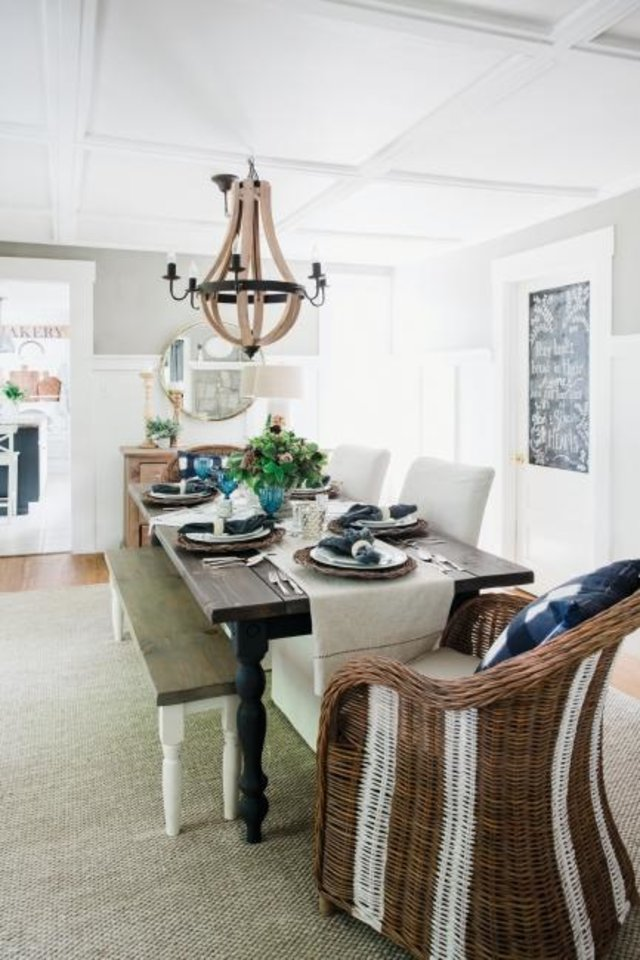 "Photo -  Most homes today don't stick rigidly to one style, says KariAnne Wood, author of ""The DIY Style Finder."" This Farmhouse-style dining room, for instance, has many contemporary touches. [HARVEST HOUSE PUBLISHERS]"