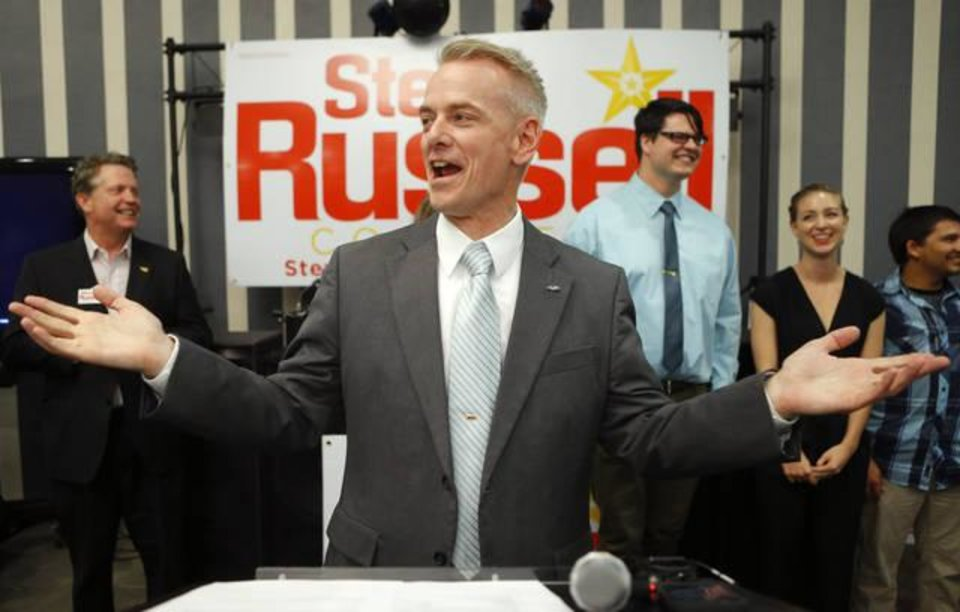Photo -  Steve Russell speaks to a crowd Aug. 26, 2014, after winning the Republican primary runoff election for Oklahoma's 5th Congressional District in Oklahoma City. [Photo by Bryan Terry, The Oklahoman]