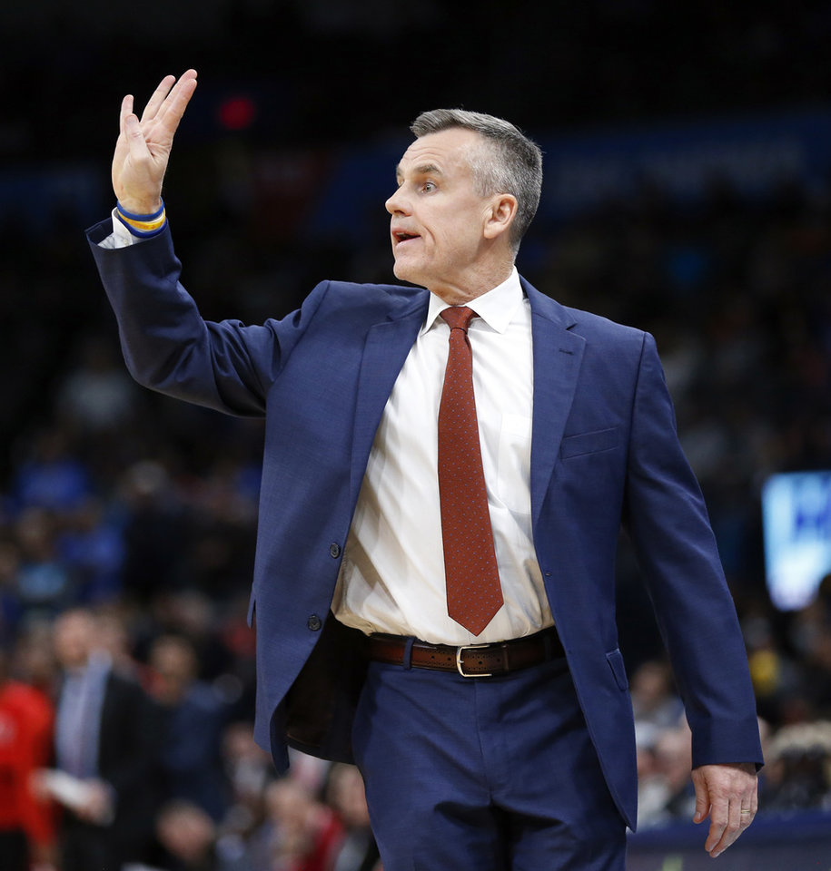 Photo - Thunder coach Billy Donovan gives a signal during a game against the Bulls at Chesapeake Energy Arena in Oklahoma City on Dec. 16, 2019. [Nate Billings/The Oklahoman]