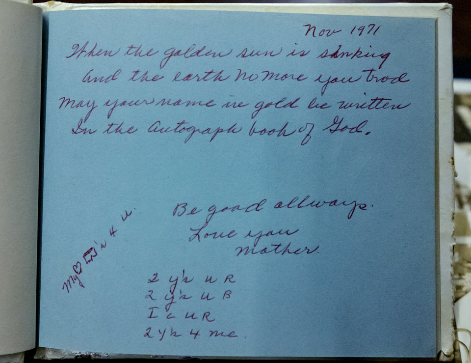 Photo - A photo of a pome written by Maxine Fullerton to her daughter Robbie taken on Friday, June 26, 2020, in Oklahoma City, Okla. Maxine Fullerton was murdered in 1980 by a 16-year-old inmate of the State Training School for Boys, at Helena. [Chris Landsberger/The Oklahoman]