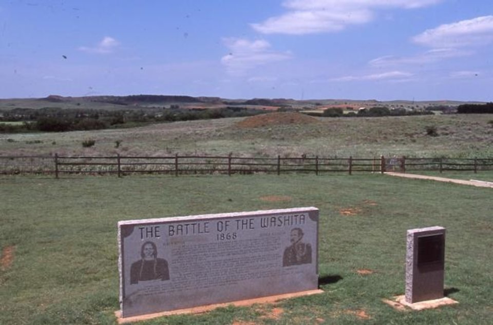Photo -  Historical markers at Washita Battlefield National Historic Site. [Jim Argo/Jim Argo Collection, OHS]
