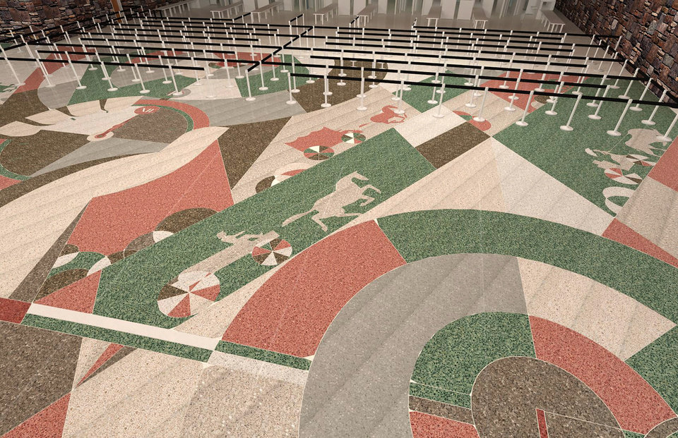 Photo - Rendering of artwork planned for the floors of the new Will Rogers World Airport in Oklahoma City. (Provided by Matt Goad)