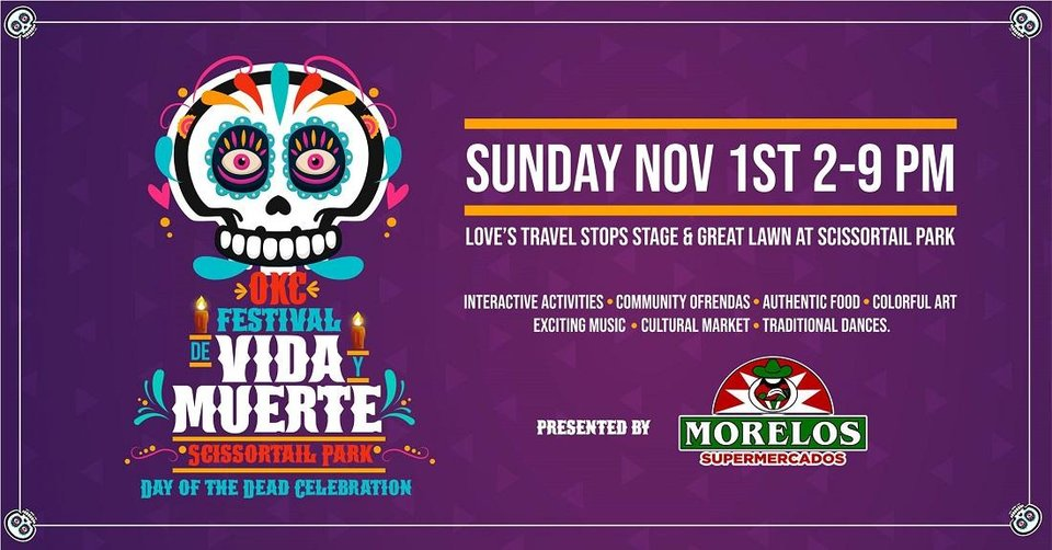 Photo - A free Day of the Dead festival is planned today in downtown Oklahoma City's Scissortail Park. [Poster image provided]