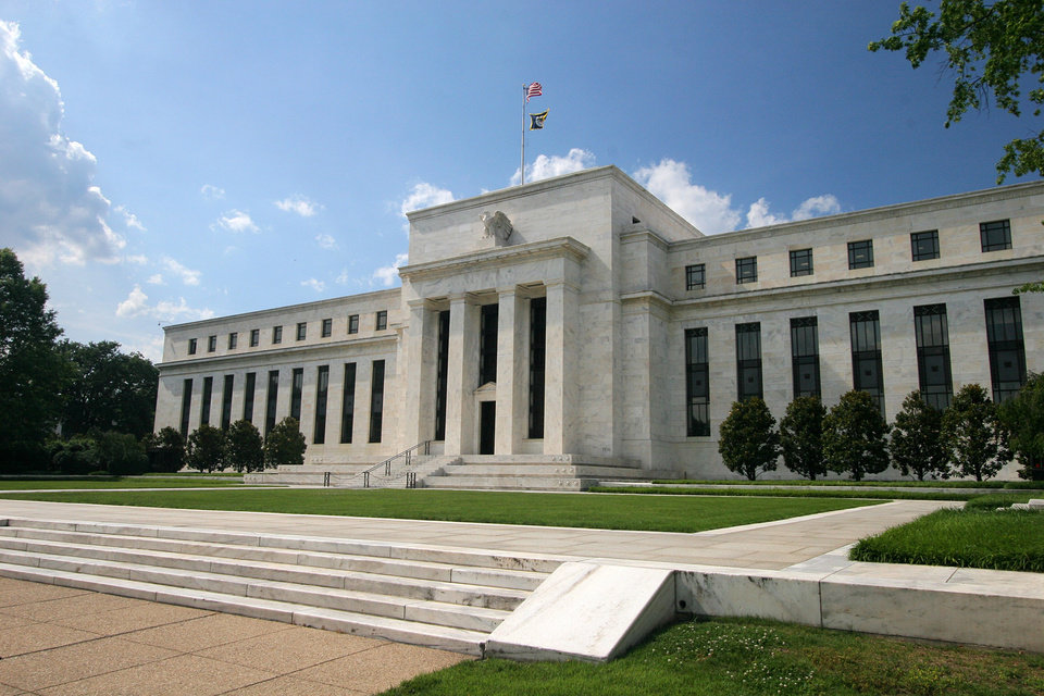 An exterior shot of the U.S. Federal Reserve building in Washington D.C