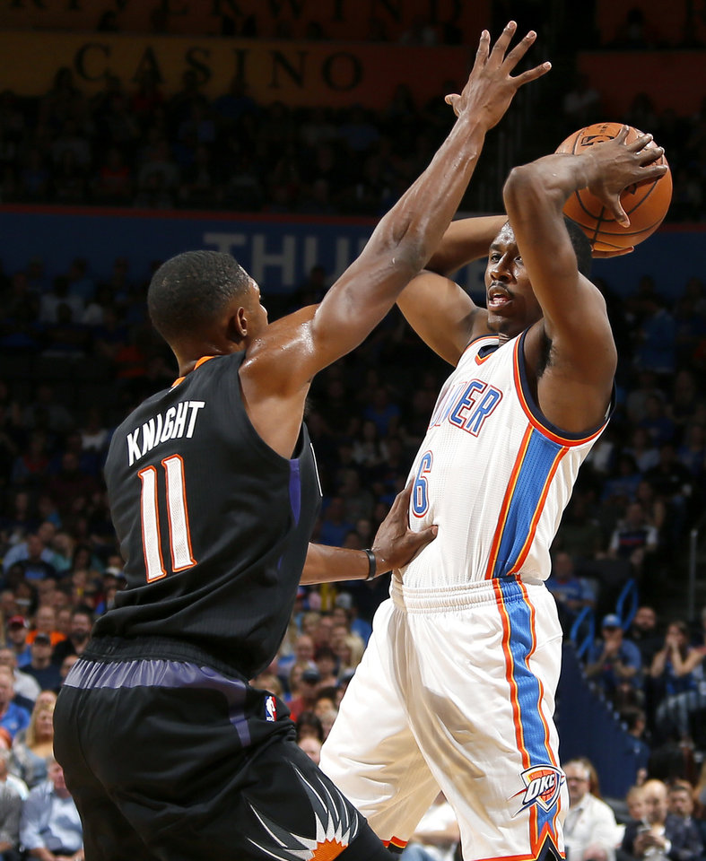 Photo - Oklahoma City's Semaj Christon (6) tries to pass around Phoenix's Brandon Knight (11) during an NBA basketball game between the Oklahoma City Thunder and the Phoenix Suns at Chesapeake Energy Arena in Oklahoma City, Friday, Oct. 28, 2016. Photo by Bryan Terry, The Oklahoman