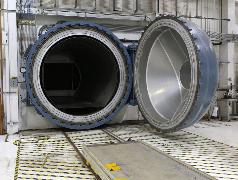Photo -  An autoclave uses heat and pressure to create composite airplane parts at Tinker Air Force Base's new aircraft maintenance facility inside the old General Motors plant in Oklahoma City, Okla. Wednesday, Sept. 7, 2016. [Photo by Paul Hellstern, The Oklahoman]