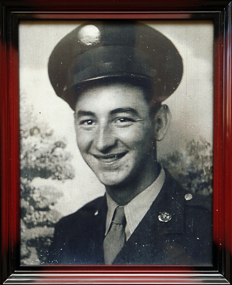 Photo -  A photo of Frank Sauter after basic training. Sauter was exposed to mustard gas during experiments conducted on U.S. troops during World War II. [Photo by Nate Billings, The Oklahoman]