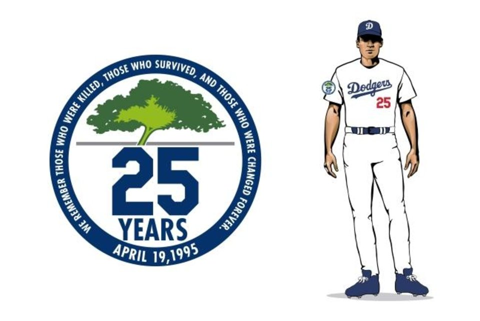 Photo -  The Oklahoma City Dodgers will wear this patch for every home game in the 2020 season to honor the victims of the 1995 bombing. [PHOTO PROVIDED]