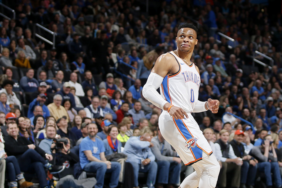 Photo -  Oklahoma City's Russell Westbrook (0) looks back after missing a dunk during an NBA basketball game between the Oklahoma City Thunder and the Memphis Grizzlies at Chesapeake Energy Arena in Oklahoma City, Thursday, Feb. 7, 2019. [THE OKLAHOMAN ARCHIVES]