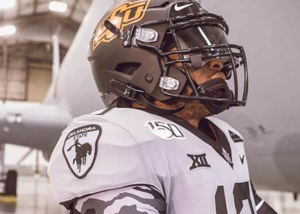 Photo -  Oklahoma State's commemorative jerseys for Saturday feature a Cowboy Battalion patch, the official logo of the university's ROTC program. [Photo provided]