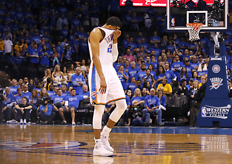 Photo - Oklahoma City's Andre Roberson (21) reacts after the Thunder loss to Golden State following Game 6 of the Western Conference finals in the NBA playoffs between the Oklahoma City Thunder and the Golden State Warriors at Chesapeake Energy Arena in Oklahoma City, Saturday, May 28, 2016. Photo by Sarah Phipps, The Oklahoman