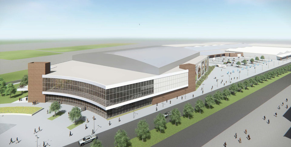 Photo -  Architects drew up conceptual drawings for a new Fairgrounds Arena designed especially to host the many national and international horse shows and competitions held annually in Oklahoma City. [Populous]