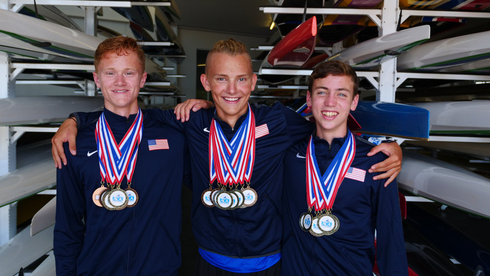 Photo -  Colin McMullen, left, who attends Edmond North High School; Camden Sexton, right, who attends Carl Albert and Gus Cook who attends Jones High School, are competing at the Olympic Hopes Regatta in Poznań, Poland. They are representing Team USA in the world championship for paddlers ages 15 through 17. [Photo provided.]