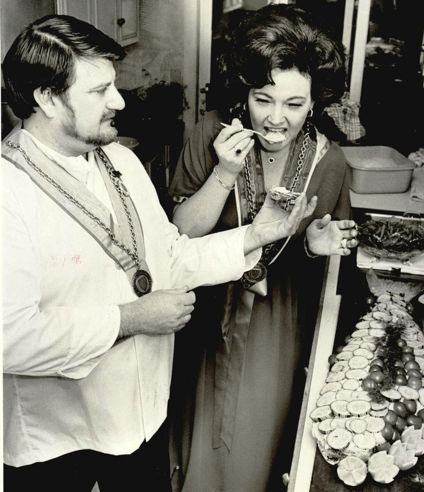Photo - Mrs. Robert S. Kerr Jr. with chef John Bennett, Dec. 15 1978.