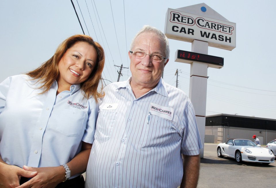 Red carpet car wash celebrates 40th anniversary the oklahoman photo co owner jim blakewell right and his wife laura blakewell solutioingenieria Images