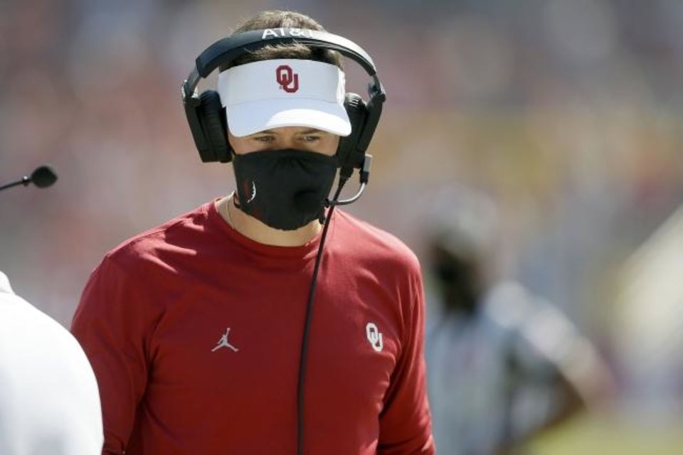 "Photo -  OU coach Lincoln Riley says the Sooners have ""let some games get closer than what they should have, for sure (with) mental lapses late in games and things like that."" [Bryan Terry/The Oklahoman]"