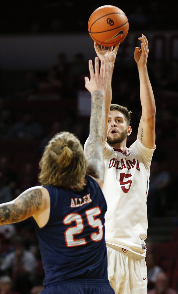 Photo -  Oklahoma's Matt Freeman (5) shoots against UTSA's Nick Allen during a Dec. 4 game at Lloyd Noble Center. [PHOTO BY NATE BILLINGS, THE OKLAHOMAN]
