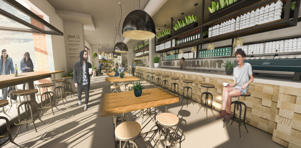 Photo -  Okay Yeah will move and reopen as Stitch, a cafe and market, along with The Plant Shoppe at West Village along Film Row. [Rendering by Idea Collective]