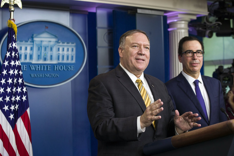 Photo -  Secretary of State Mike Pompeo and Treasury Secretary Steve Mnuchin answer questions during a briefing on terrorism financing at the White House Tuesday, Sept. 10, 2019, in Washington. [AP Photo/Alex Brandon]