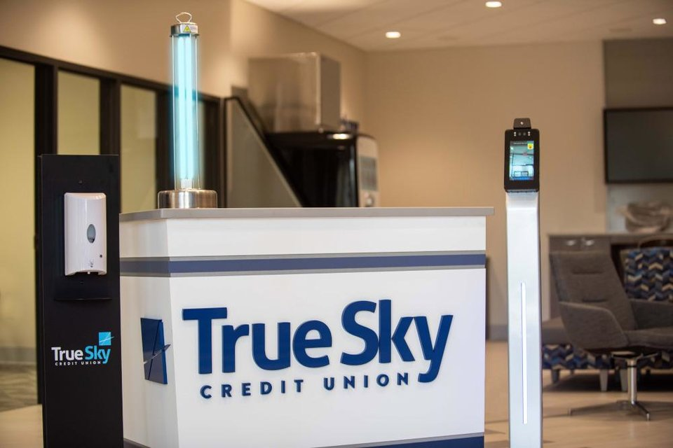 "Photo - True Sky branches now have a ""thermal mirror"" - a freestanding camera and display that reads an individual's core body temperature in less than two seconds. [PHOTO PROVIDED]"