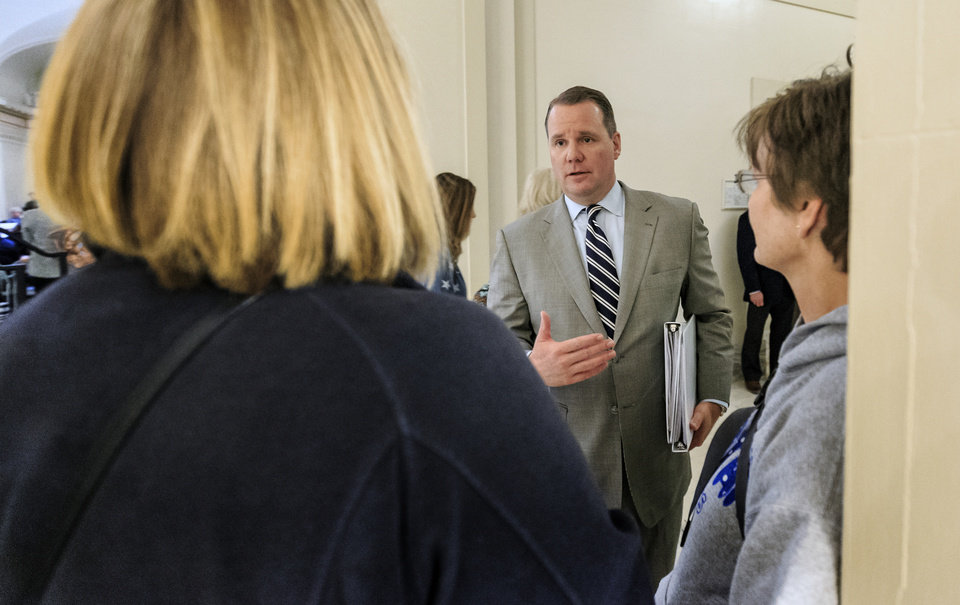 Photo - Lt. Gov. Todd Lamb speaks with teachers during the ninth day of a walkout by Oklahoma teachers at the state Capitol in Oklahoma City, Okla. on Tuesday, April 10, 2018.   Photo by Chris Landsberger, The Oklahoman