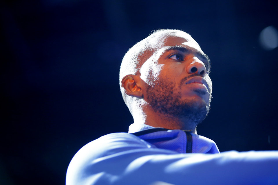 Photo - Oklahoma City's Chris Paul stands during a timeout in an NBA basketball game between the Oklahoma City Thunder and the New Orleans Pelicans at Chesapeake Energy Arena in Oklahoma City, Saturday, Nov. 2, 2019. Oklahoma City won 115-104. [Bryan Terry/The Oklahoman]