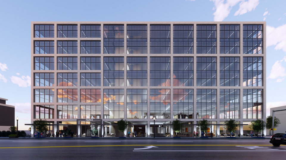 Photo -  The Broadway frontage of the future Heartland headquarters face west between NW 5 and NW 6 in this rendering by Elliott Associates Architects. [Provided]