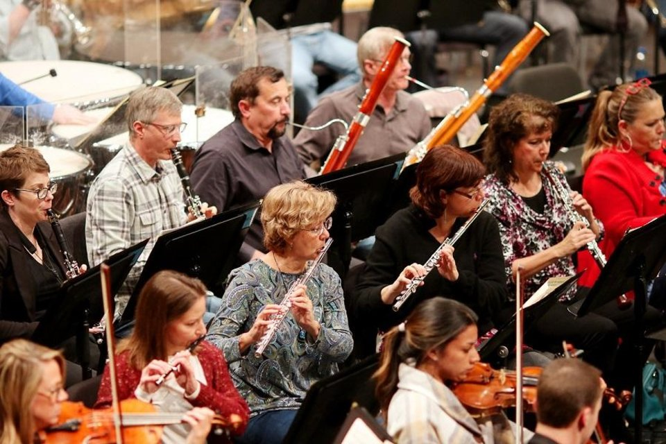 Photo - The Oklahoma City Philharmonic rehearses Tuesday, October 29, 2019, at the Civic Center Music Hall in Oklahoma City. [Doug Hoke/The Oklahoman]