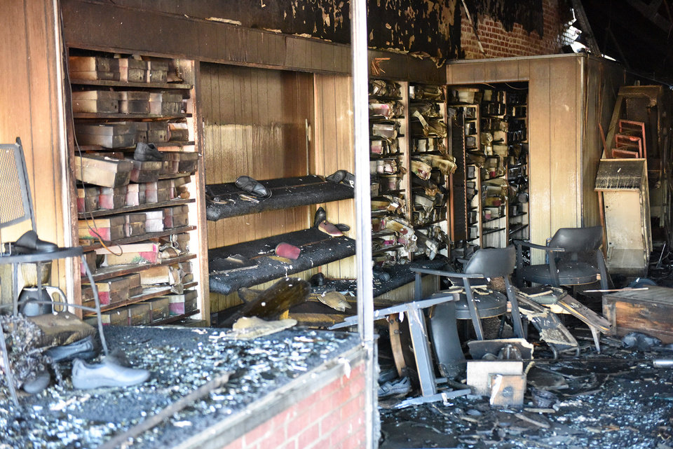 Photo -  Ander's shoe store in Miami for 85 years destroyed by fire early Tuesday. [Photo by GARY CROW, For the Oklahoman]