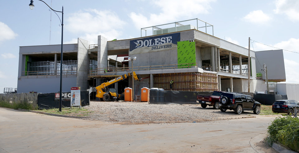 Photo -  Construction continues at The Half, a retail-entertainment venue underway by American Fidelity and Hogan Property Co. east of Broadway Extension, south of Britton Road. [BRYAN TERRY/THE OKLAHOMAN]
