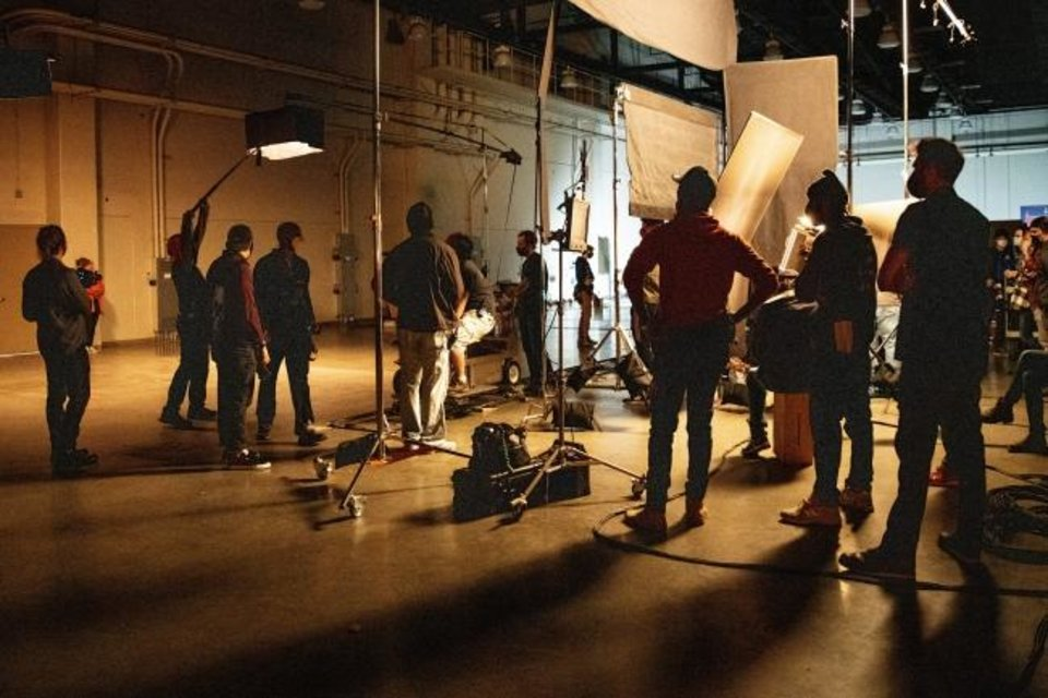 Photo -  The first filming at the new Prairie Surf Studio, formerly the Cox Convention Center, takes place Tuesday as students and instructors begin film production as part of a CARES Act funded job training program. [PROVIDED]