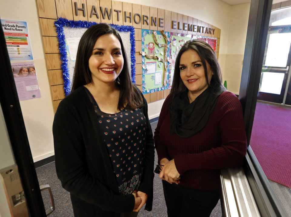 Photo -  Alexiss Lopez and her mom, Linda Lopez talk about the Bilingual Teacher Pipeline Project at Hawthorne Elementary School on Wednesday, Jan. 13, 2016 in Oklahoma City, Okla. Photo by Steve Sisney, The Oklahoman