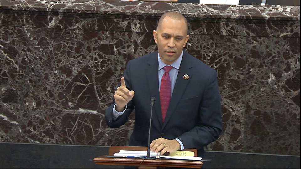 Photo -  House impeachment manager Rep. Hakeem Jeffries, D-N.Y., speaks Thursday during the impeachment trial.