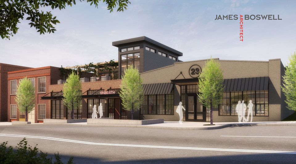 Photo -  Basil Rayan is proceeding with redevelopment a one-story garage and adjoining warehouse at 19 and 23 NE 6 into a mixed use development that will include a restaurant. [Rendering by James Boswell Architect]