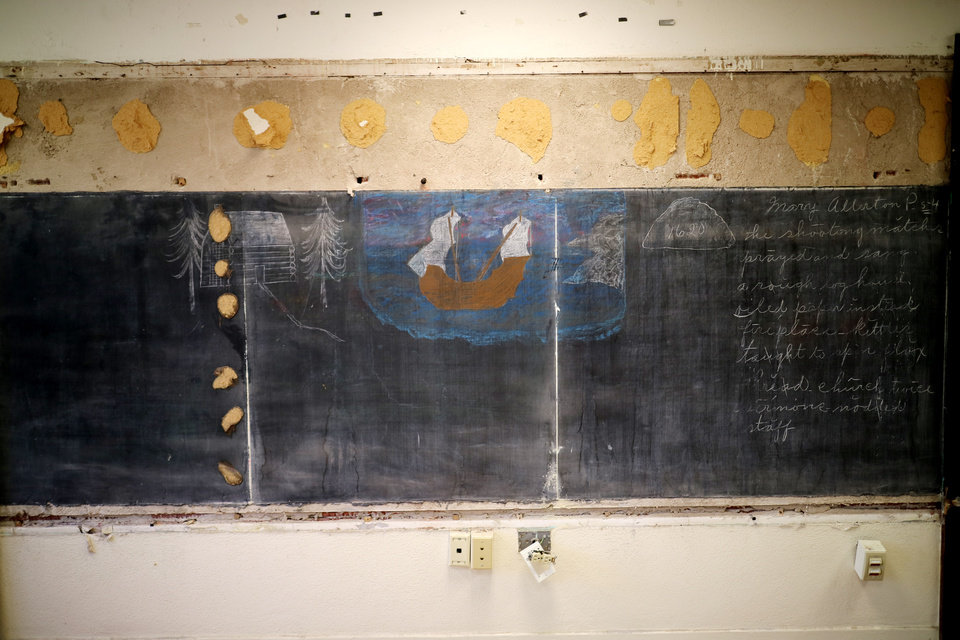 Photo -  Renovation at Emerson School revealed the original blackboards with lessons  from 1917 still intact.  Friday, June 5, 2015. Photo by Doug Hoke, The Oklahoman