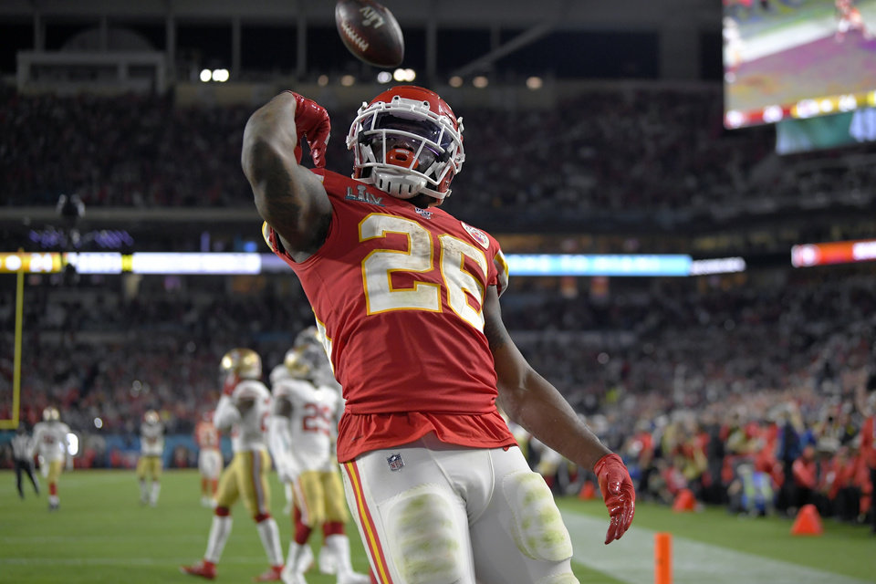 Photo - Kansas City Chiefs' Damien Williams celebrates his touchdown against the San Francisco 49ers during the second half of the NFL Super Bowl 54 football game Sunday, Feb. 2, 2020, in Miami Gardens, Fla. (AP Photo/Mark J. Terrill)