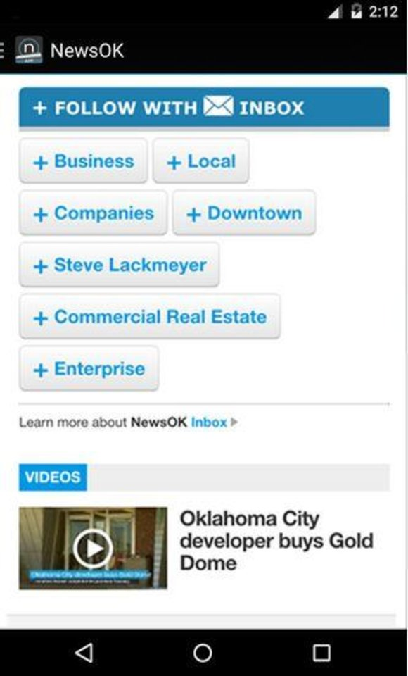 Photo -  A screen of Inbox options with stories on the NewsOK app.