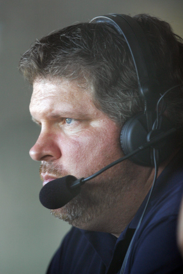 Photo - COLLEGE SOFTBALL: John Kruk in the broadcast booth during the softball game between Arizona State University and Alabama in the Women's College World Series at ASA Hall of Fame Stadium in Oklahoma City, Thursday, May 29, 2008. BY NATE BILLINGS, THE OKLAHOMAN ORG XMIT: KOD