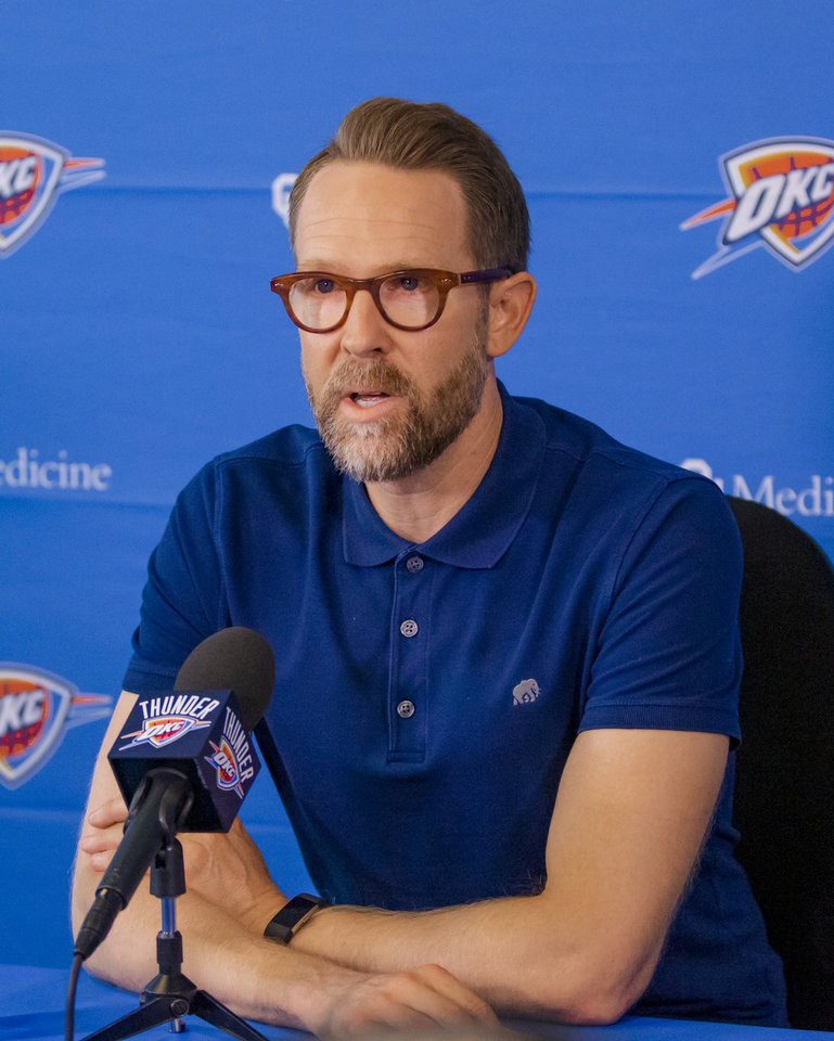 Photo - Oklahoma City Thunder general manager Sam Presti addresses the media during his start of the season press conference at the Thunder practice facility in Oklahoma City, Okla. on Thursday, Sept. 26, 2019. [Chris Landsberger/The Oklahoman]