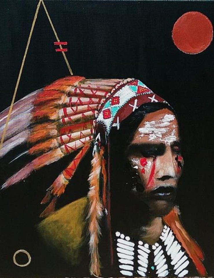 Photo -  Known as Dead Feather, Edmond artist Joshua Garrett, who is Muscogee (Creek) and Seminole, will be exhibiting his paintings and other artwork Friday night during