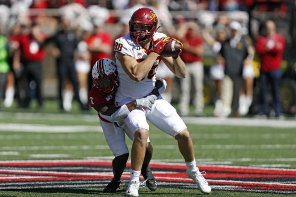 Photo -  Charlie Kolar has become a big part of Iowa State's offense this season. He has four touchdown catches on the year, two coming last weekend. [Brad Tollefson/Lubbock Avalanche-Journal]