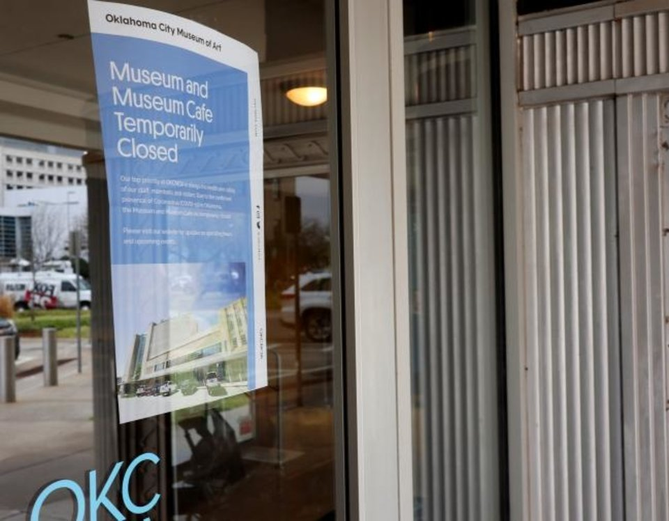 Photo -  A sign on the door of Oklahoma City Museum of Art tells visitors they will be closed, Monday, March 16, 2020.  [Photo by Doug Hoke/The Oklahoman]